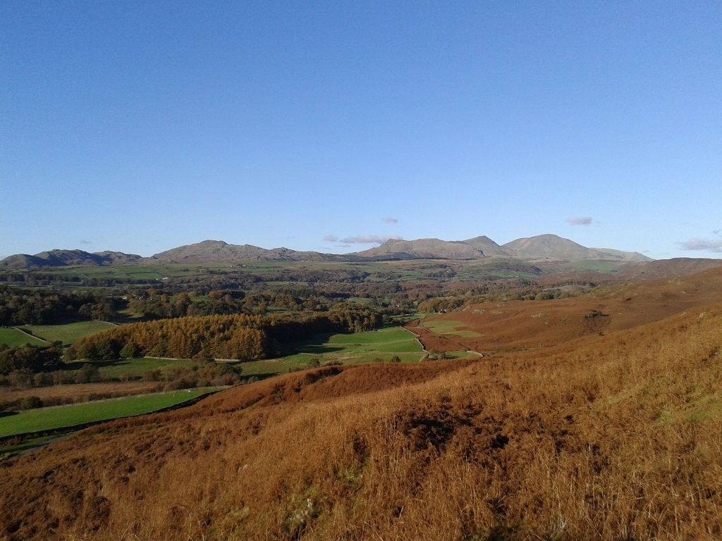 View of the farm looking towards the Coniston fells