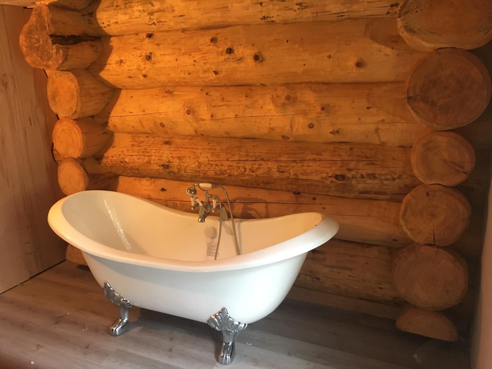 cosy log cabin bathroom