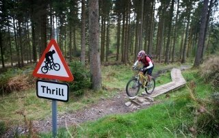 Cyclist in Grizedale Forest Winter Adventure