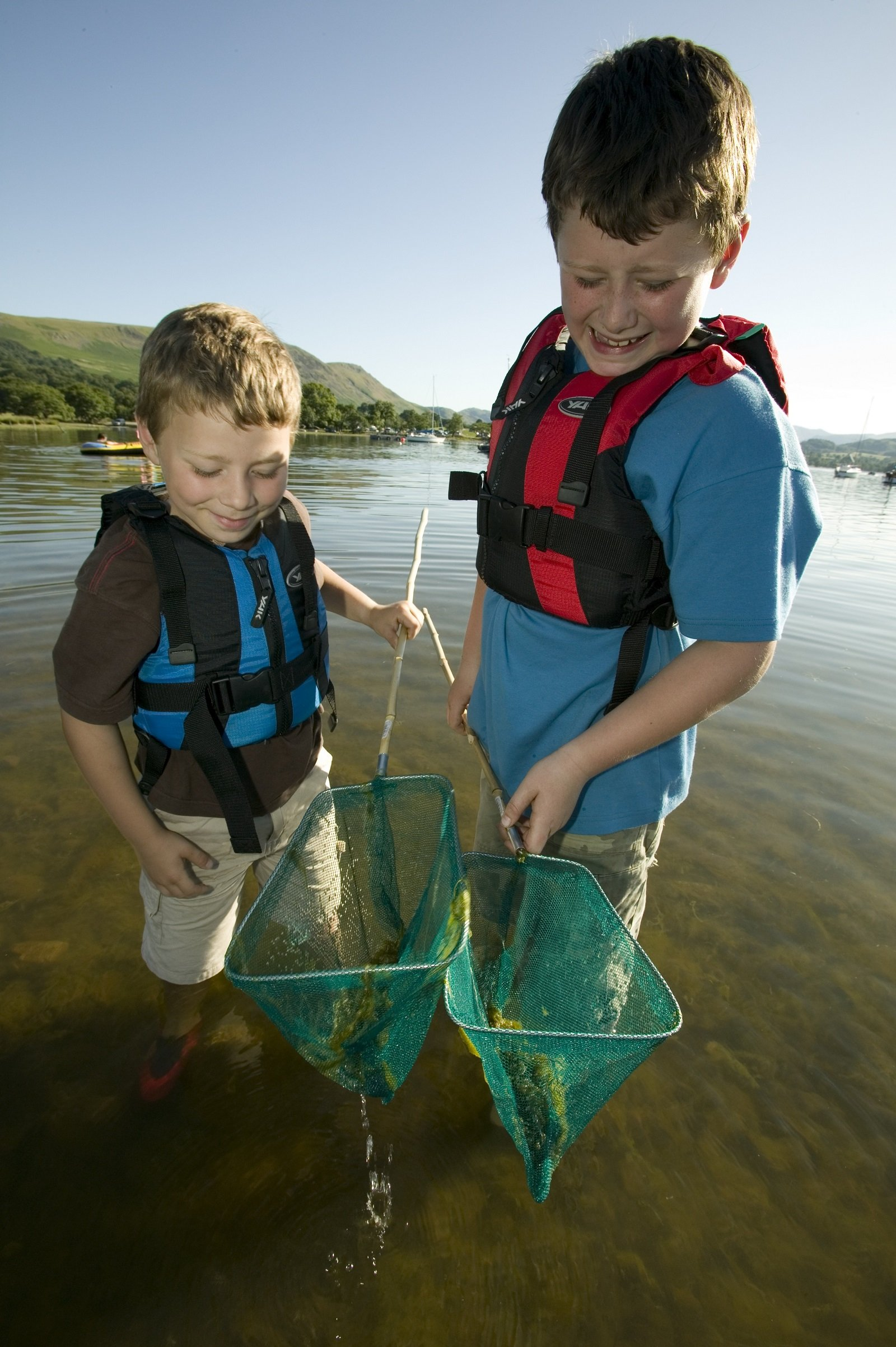 children fishing in the Lake District